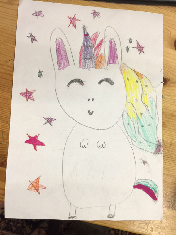 Julia's drawing of Sapphire the Unibunny. Very magical indeed and what a fab imagination.
