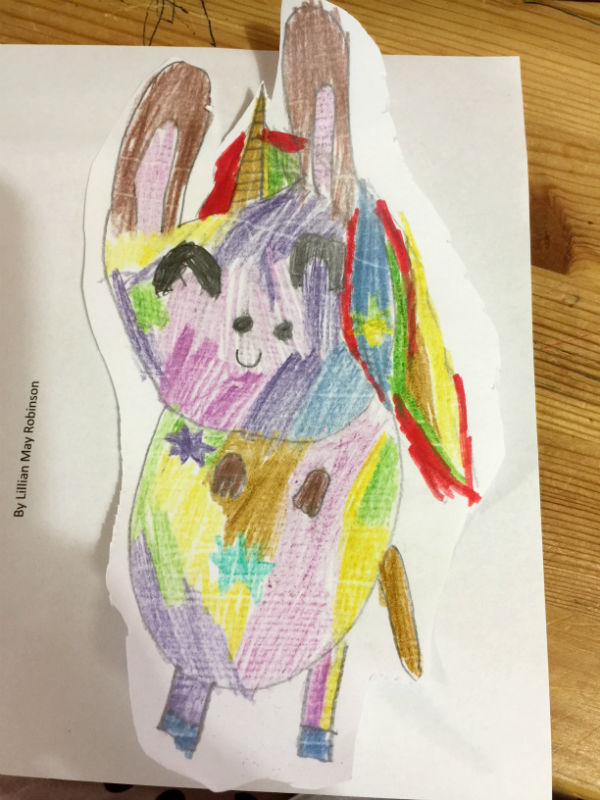 Lillian's drawing of the Sparkles the Unibunny. How lovely does she look.