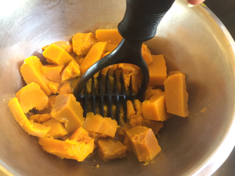 The pumpkin is all cooked and now ready to mash up to be mash!