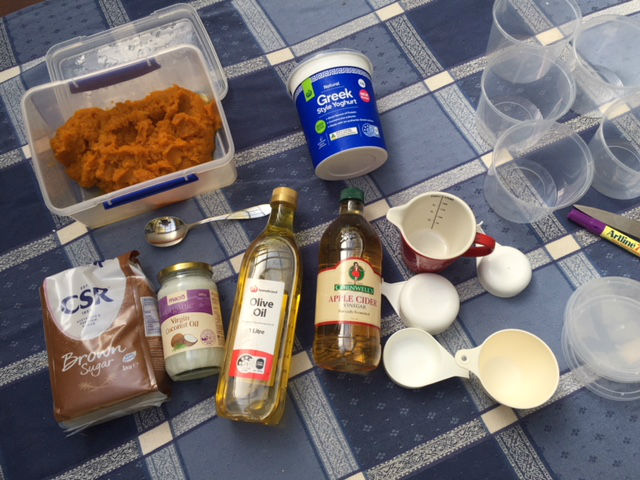 All the items I needed for my homemade pumpkin beauty products. Some were good enough to eat!