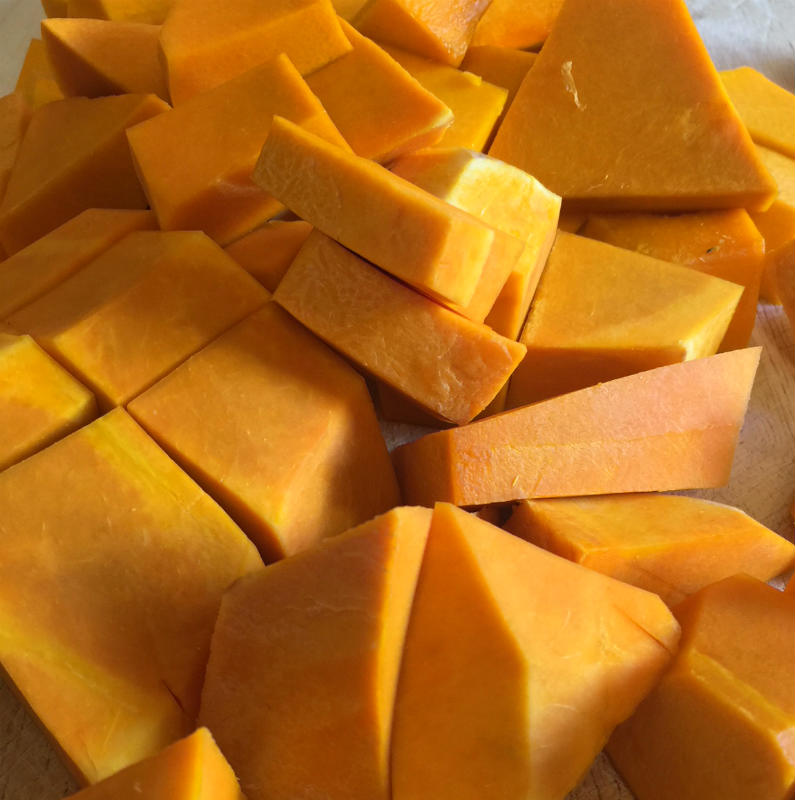 Pumpkin all cut up and ready to be turned into mash.