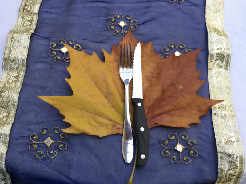 Big Autumn Leaves to mark the dinner party guests place at the table.