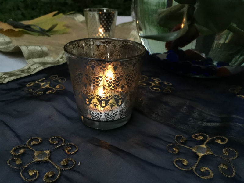 The tea lights were added to tea light candle holders.