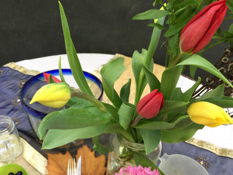 The yellow and red tulips that I got from Fine Flowers in Katoomba.