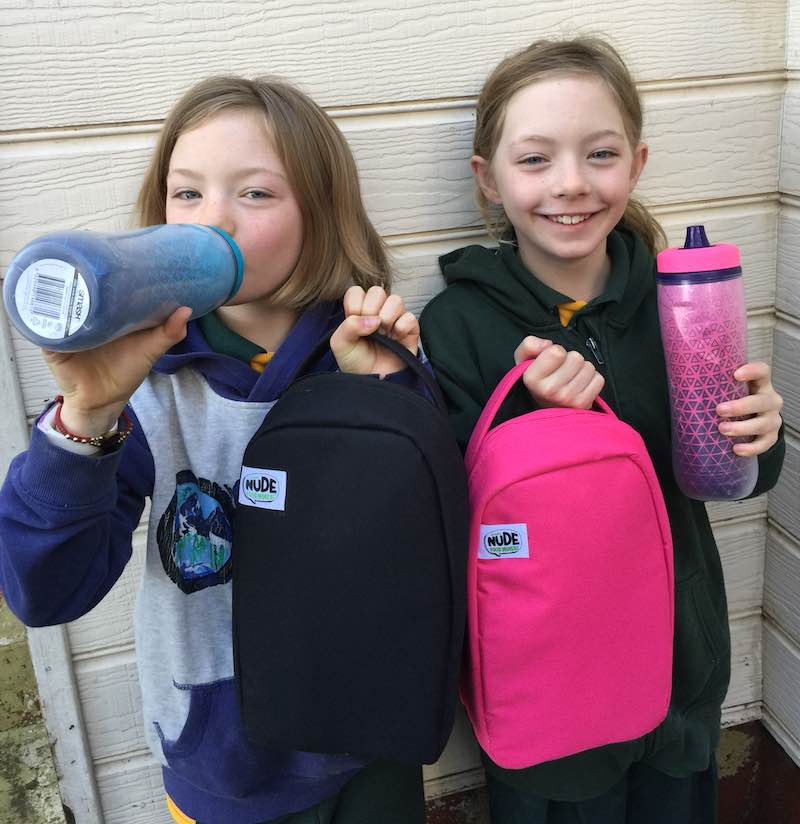 The girls are super keen to try out their new water bottles and Nude Food Lunch Movers Light Bag from Smash.