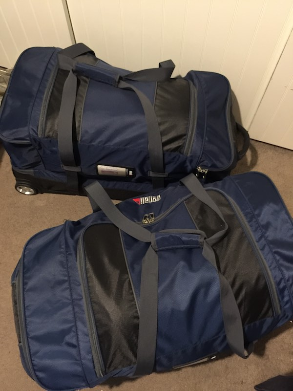 Camp bags are packed. All done and ready for the girl's first school camp.