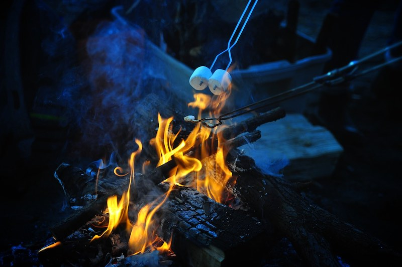 Roasting marshmallows on a campfire. Maybe the kids will do this while camping.