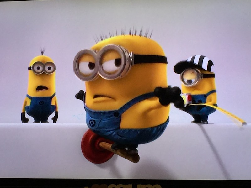 A screenshot of the Minions being silly.