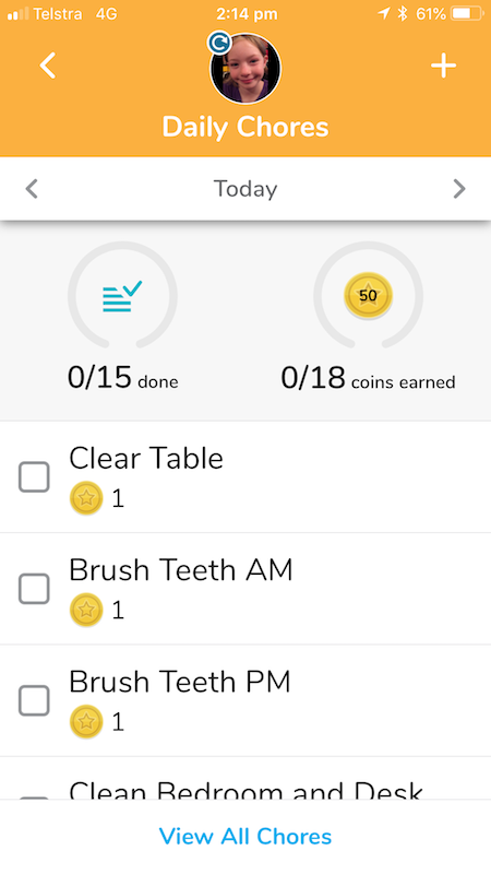 You can set up chores and also reminders for kids that need that extra boost to do a chore.