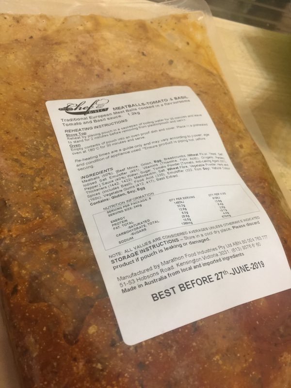 Beef Meatballs Tomato & Basil Sauce 1.2kg from Chef Direct by Marathon.