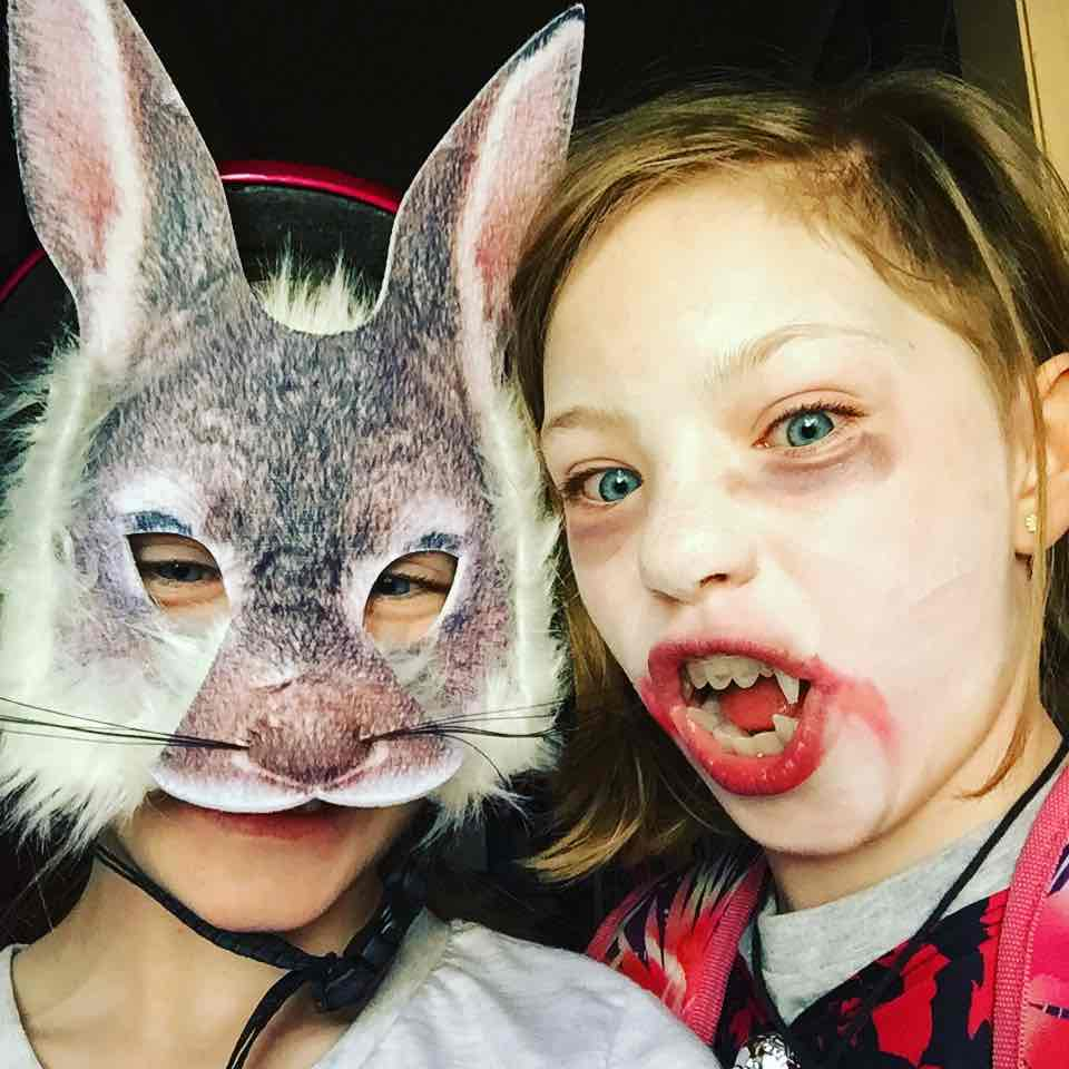 Julia the Rabbit and Lillian the Vampire. Dressed up and ready for Billy Cart Derby.