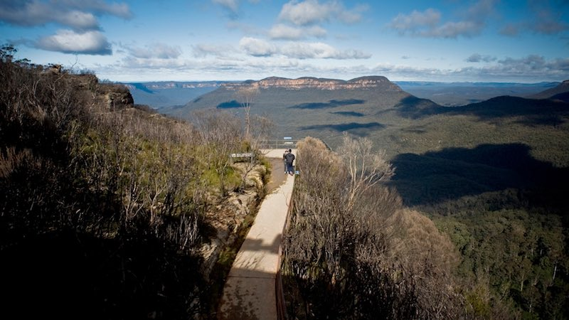 Take a walk and enjoy the scenery in the Blue Mountains.