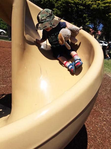 Playing superheroes at the park with Super Bark the Dog!