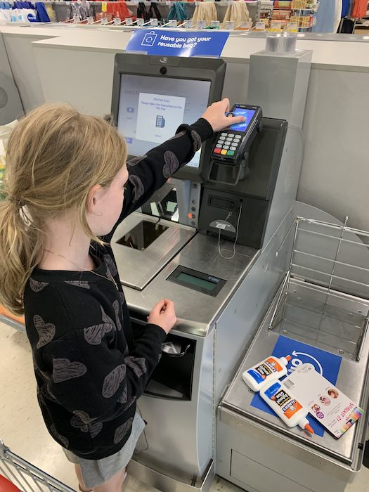 So grown up with her own Wonder Woman Spriggy Pre-Paid Card and buying everything to make slime on her own. (Well mummy did take her to the shops, so not technically alone).