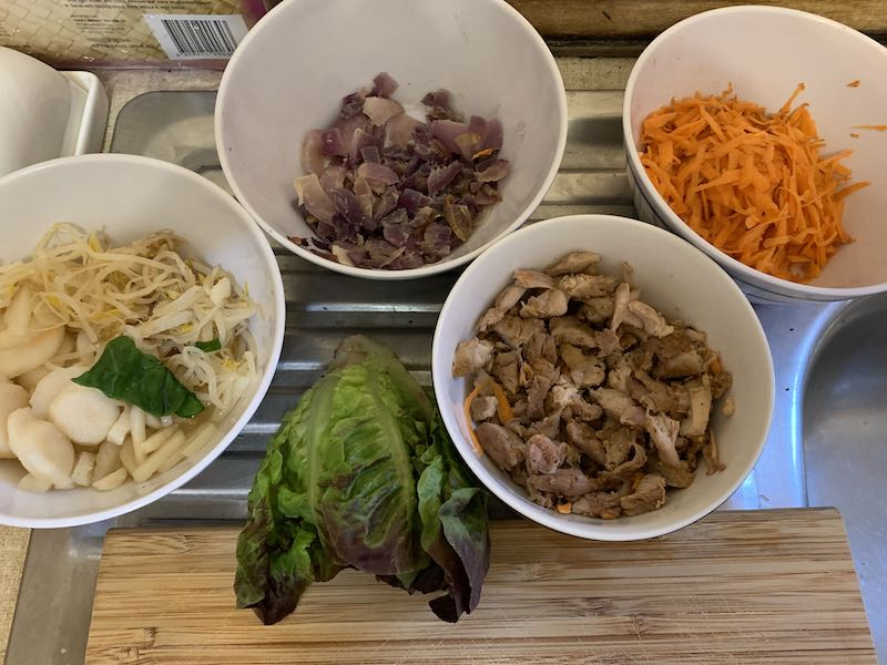 All my ingredients for the inside of my spring rolls.