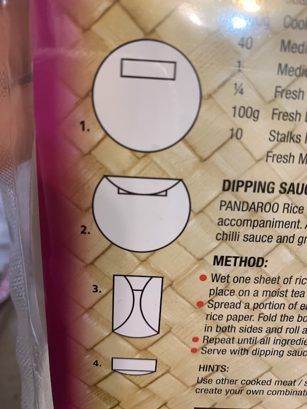 See diagram on how to fold the spring rolls. I didn't see this at first and my first ones were not as good. The other ones were better, but I think I need more practice.