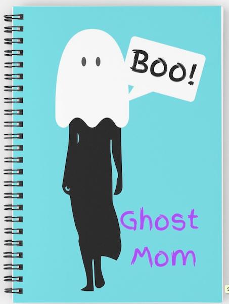 Ghost Mum Spiral Notebook in aqua