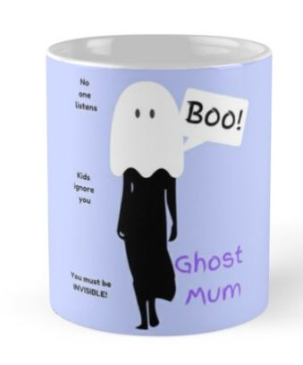 Ghost Mum Mug in Blue