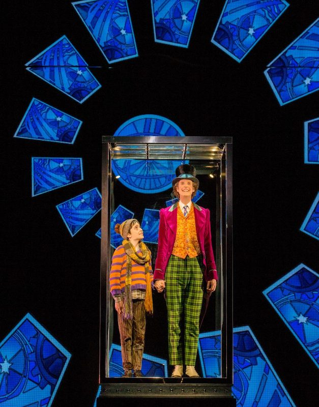 The Glass Elevator: Ryan Yeates as Charlie and Paul Slade Smith as Willy Wonka in CHARLIE AND THE CHOCOLATE FACTORY, photo from Willy Wonka and the Chocolate Factory website.
