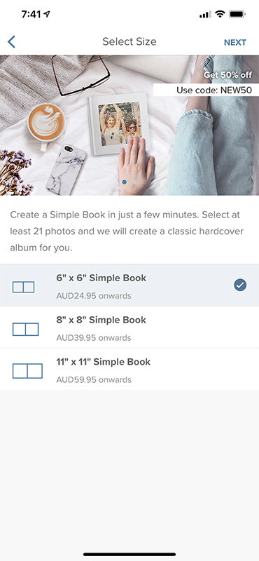 In the Photobook Worldwide App, pick the 6' x 6' Simple Book, then click next and start creating your book!