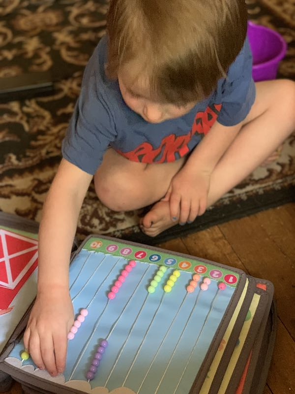 Counting with the new Rainbow Patch PlayBook - This page has beads that count up to 10