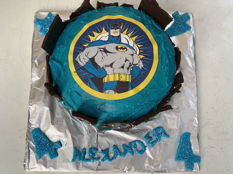 The cake finally all done and ready for Alexander's birthday party.