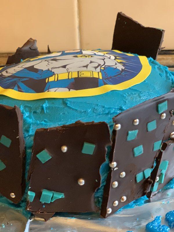 Batman Cake with Gotham buildings