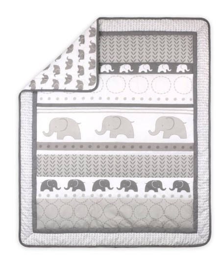 Little Haven Elephant Baby Nursery Cot Quilt - Grey from BigW - $34.95