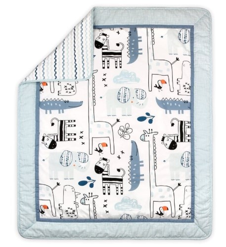 Little Haven Safari Baby Nursery Cot Quilt - Blue from BigW - $34.95