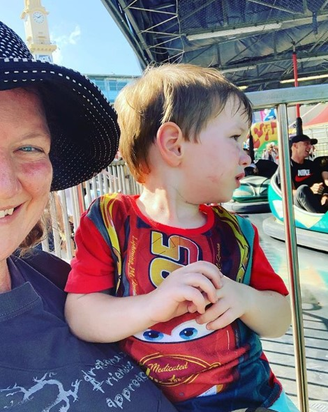 Alexander and I watching the dodgem cars