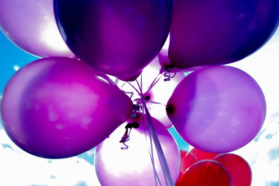 Birthday balloons - I love purples and blues