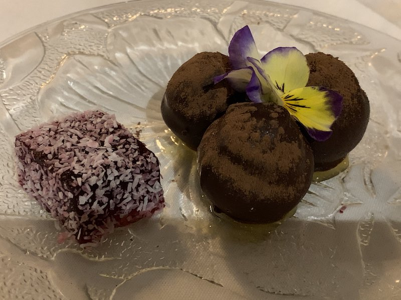 After dinner sweets. Berry coconut slice and mint chocolate balls - So yummy!