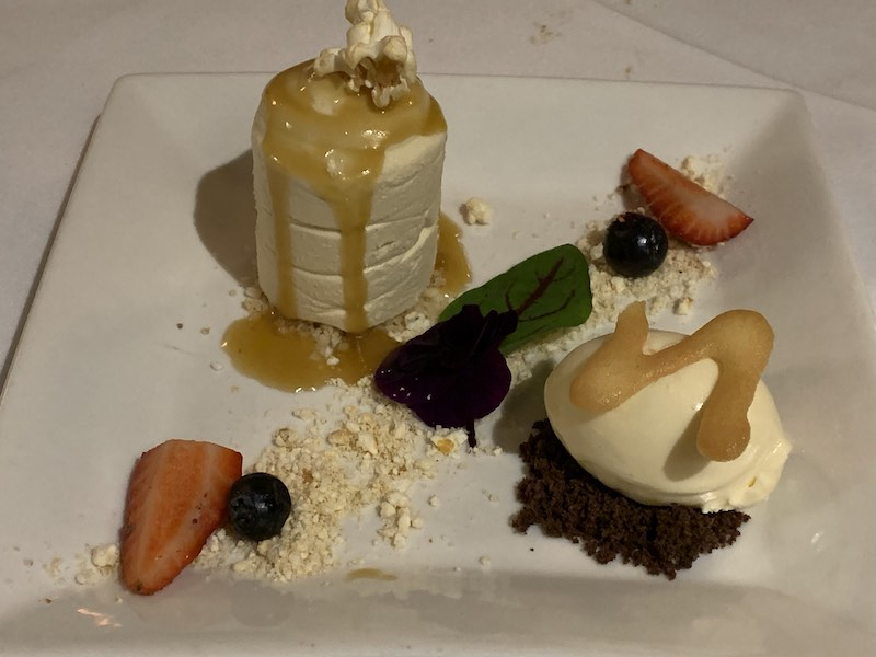 Salted Caramel Cheesecake with Caramel Sauce, Vanilla Ice Cream, Tuille Biscuit & Caramel Popcorn