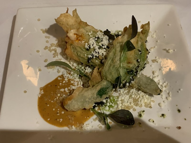 Zucchini Flowers filled with Ricotta, Sundried Tomato, Fig & Preserved Lemon, with a Capsicum Cream Sauce