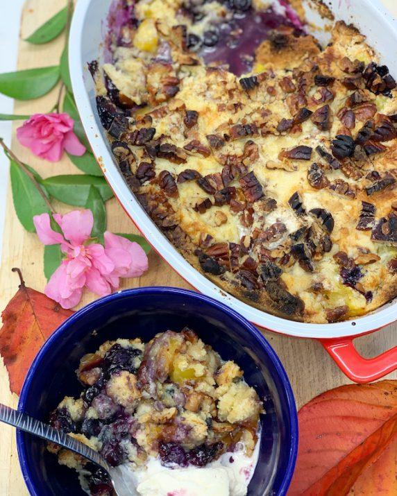 Mango, Blueberry and Pecan Dump Cake